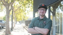 Jonathan Tate stands in front of King Cong Brewery on Del Paso Boulevard in Sacramento.